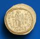 London Coins : A141 : Lot 1049 : Solidus Au. Justinian I. C, 527-565 AD. Rev; VICTORIA AVGGG?; Angel standing facing hold...