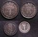 London Coins : A141 : Lot 1839 : Maundy Set 1872 ESC 2485 EF to UNC the Fourpence, Threepence and Twopence with matching tone