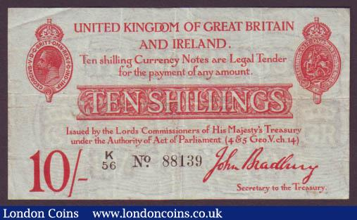 Ten shillings Bradbury T12.1 issued 1915 series K/56 88139, about VF : English Banknotes : Auction 142 : Lot 13