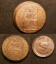 London Coins : A142 : Lot 1716 : Mint Errors Mis-Strikes (3) Penny 1963, Halfpenny 1929, Farthing 1942 all struck off-centre ...