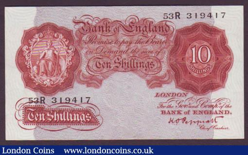 Ten shillings Peppiatt B236 issued 1934 series 53R 319417, lightly pressed, about UNC : English Banknotes : Auction 142 : Lot 73