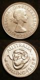 London Coins : A142 : Lot 841 : Australia (2) Florin 1958 Proof KM#60 nFDC with a few minor contact marks, Shilling 1958 Proof K...