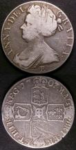 London Coins : A143 : Lot 1697 : Crowns (2) 1707E SEXTO ESC 103 VG with some scratches, 1732 Roses and Plumes ESC 117 Near Fine struc...