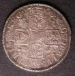 London Coins : A143 : Lot 2206 : Shilling 1708 Plumes ESC 1148 VF toned, the reverse with a light adjustment mark