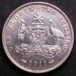 London Coins : A143 : Lot 825 : Australia Florin 1911 bright VF 6 pearls showing