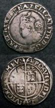 London Coins : A144 : Lot 1251 : Shilling Elizabeth I Sixth Issue S.2577 mintmark Escallop VG/Near Fine, the bust weak with an old x-...