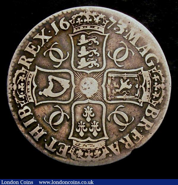 Crown 1673 3 over 2 ESC 48 VG : English Coins : Auction 144 : Lot 1316