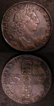 London Coins : A144 : Lot 1743 : Halfcrowns (2) 1687 ESC 498 VG with some deeper flan flaws on the reverse, 1698 DECIMO ESC 554 VF/GV...