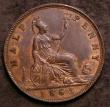 London Coins : A144 : Lot 1772 : Halfpenny 1865 5 over 3 Freeman 297 dies 7+G, the top of the 5 filled by a doubled underlying 3, GEF...