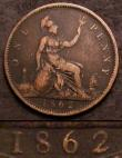 London Coins : A144 : Lot 1837 : Penny 1862 2 over 1 Gouby BP1862G (J+g), Satin 38A, VG/Near Fine, Excessively Rare, Gouby states in ...