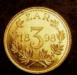 London Coins : A144 : Lot 705 : South Africa ZAR 3d 1898 fantasy strike in gold (or gilt) EF 2.6 grammes, bought as seen