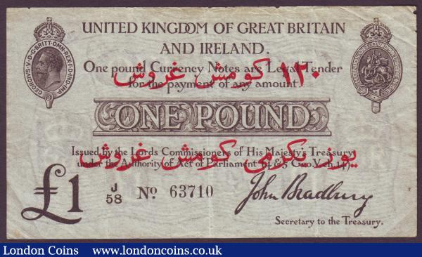 One Pound Bradbury Dardanelles overprint T14, J58 63710 Excessively rare. GVF : English Banknotes : Auction 144 : Lot 83