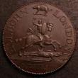 London Coins : A144 : Lot 922 : Halfpenny 18th Century Middlesex C.Ibberson Holborns London, undated, DH342 George and the Dragon wi...