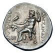 London Coins : A145 : Lot 1208 : Tetradrachm Ar.  Alexander III the Great.  C, 336-323 BC.  Obv; Head of Herakles wearing lion skin h...