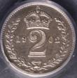 London Coins : A145 : Lot 1846 : Maundy Twopence 1902 Matt Proof CGS Variety 02 nFDC, slabbed and graded CGS UNC 85