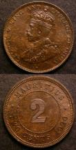 London Coins : A145 : Lot 688 : Mauritius (2) 2 Cents 1920 KM#13 Toned UNC, 1 Cent 1912 KM#12 UNC with a trace of lustre