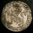 London Coins : A145 : Lot 700 : Netherlands Lion Daalder 1599 9 over 8 VF with some uneven tone