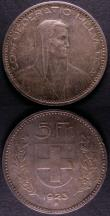 London Coins : A145 : Lot 744 : Switzerland 5 Francs (2) 1923B KM#37 A/UNC toned, 1925B UNC or near so with some light contact marks
