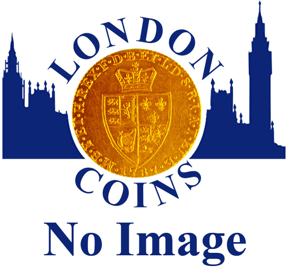 London Coins : A146 : Lot 3133 : Halfcrown 1741 41 over 39 ESC GVF/VF nicely toned, with a small x-shaped scratch in the shield next ...