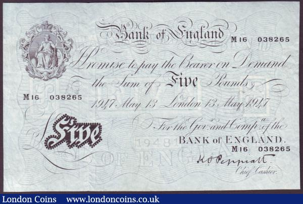 Five pounds Peppiatt white B264 dated 13th May 1947 series M16 038265, pressed Fine : English Banknotes : Auction 146 : Lot 144