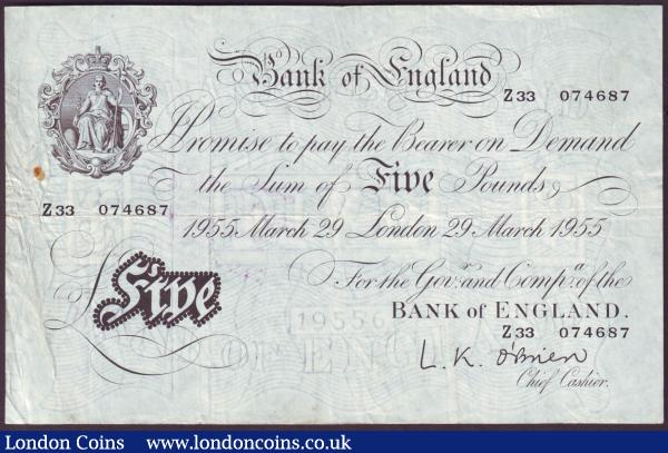 Five pounds O'Brien white B275 dated 10th March 1955 series Z17 013331, inked numbers reverse, Fine+ : English Banknotes : Auction 146 : Lot 180