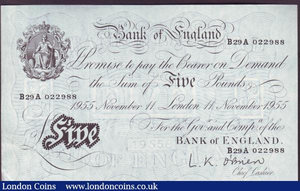 Five pounds O'Brien white B276 dated 11th November 1955 series B29A 022988, GVF to EF : English Banknotes : Auction 146 : Lot 185