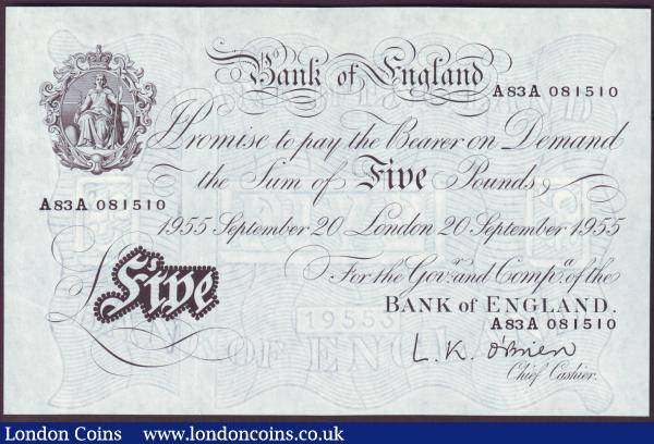Five pounds O'Brien white B276 dated 20th September 1955 first series A83A 081510, GEF or better : English Banknotes : Auction 146 : Lot 188