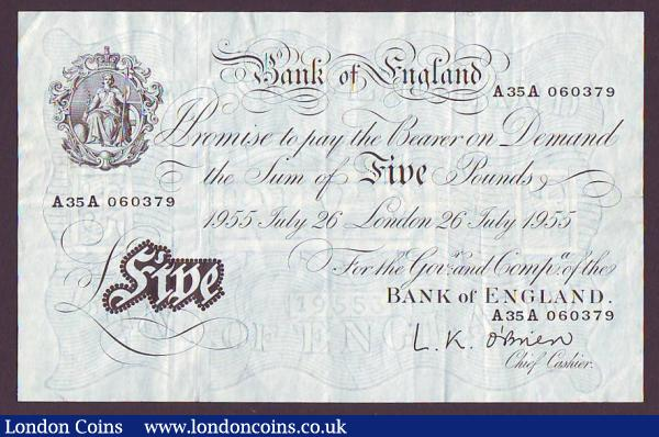 Five pounds O'Brien white B276 dated 26th July 1955 series A35A 060379, dirt marks reverse, about VF : English Banknotes : Auction 147 : Lot 123
