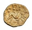 London Coins : A147 : Lot 1806 : Stater Au. Gallo-Belgic issue.  Ambiani.  C, 50 BC.  Obv; Blank.  Rev; Disjointed horse r. VA 52.  L...