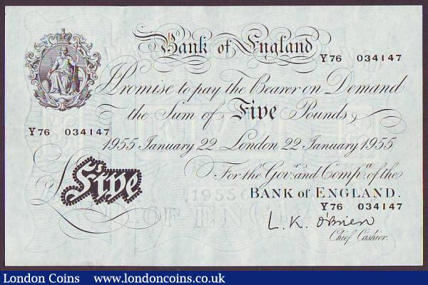 Five pounds O'Brien white B275 dated 22nd January 1955 first series Y76 034147, light surface dirt reverse, pressed GVF to EF : English Banknotes : Auction 147 : Lot 87