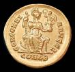 London Coins : A148 : Lot 1428 : Solidus Au. Honorius.  C, 393-423 AD.  Constantinople mint.  Obv: D N HONORIVS P F AVG; Diademed, he...