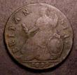 London Coins : A149 : Lot 2287 : Halfpenny 1699 Type 3 Date in Exergue Unbarred A's in BRITANNIA  Peck 689 Near Fine with some p...