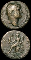 London Coins : A150 : Lot 1651 : Brass Sestertii (2) Hadrian Rome 127, Roma seated left (RCV 3585v) Fine, Ex-Quinn collection, Very r...