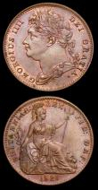 London Coins : A150 : Lot 2082 : Farthing 1825 Obverse 1 as Peck 1414 with the last two IIs in GEORGIUS IIII being overstruck by two ...