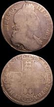 London Coins : A150 : Lot 2303 : Halfcrown 1696 B Large Shields, Early Harp ESC 524 NVG, Shillings (2) 1668 Second Bust ESC 1030 VG, ...