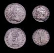 London Coins : A150 : Lot 2513 : Maundy Set 1727 ESC 2401 Fourpence GF/F, Threepence GVF with a haymark on the reverse, Twopence NEF ...