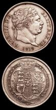 London Coins : A150 : Lot 2772 : Shillings (2) 1817 ESC 1232 A/UNC and nicely toned, 1819 ESC 1235 NEF