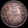 London Coins : A150 : Lot 2863 : Sixpence 1860 O of VICTORIA struck over a T GVF/VF nicely toned, unrecorded by Spink, ESC or Davies
