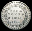 London Coins : A150 : Lot 3095 : Three Shilling Bank Token 1811 Bust type, 26 Acorns on reverse ESC 408 A/UNC and lustrous, the obver...