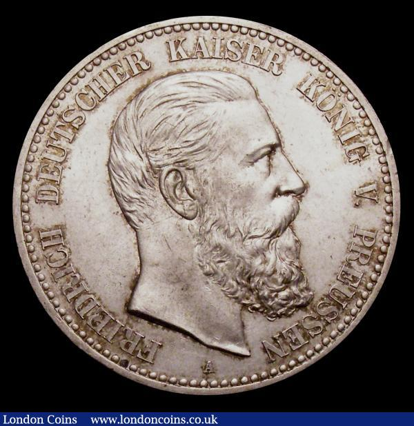 German States - Prussia 5 Marks 1888A Friedrich III KM#512 Lustrous UNC, formerly in an NGC holder graded MS64 : World Coins : Auction 150 : Lot 992