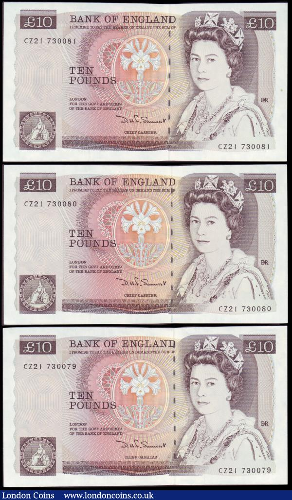 Ten pounds Somerset B349 (3) issued 1987, a consecutively numbered trio series CZ21 730079 to CZ21 730081, Florence Nightingale on reverse, Pick379d, UNC : English Banknotes : Auction 151 : Lot 132