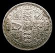 London Coins : A151 : Lot 1490 : Florin 1849 WW obliterated by inner circle ESC 802A, CGS type FL.V1.1849.02, EF the obverse with hai...