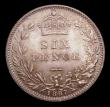 London Coins : A151 : Lot 1716 : Sixpence 1887 Jubilee Head Revised type, ESC 1754, CGS type SP.V1.1887.09 Choice UNC deeply toned, s...