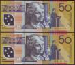London Coins : A151 : Lot 183 : Australia $50 (2) issued 1995, Polymer plastic,  a consecutively numbered pair, series DE95017742 &a...
