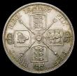 London Coins : A151 : Lot 2295 : Double Florin 1887 Arabic 1, Davies 540a Dies 1B, Obverse; Cross on crown points to a space, Reverse...