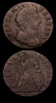 London Coins : A151 : Lot 2405 : Farthings (2) 1699 Date in Exergue GVLILEMVS error Peck 666 VG porous, 1699 Date in legend Unbarred ...