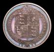 London Coins : A151 : Lot 2917 : Shilling 1887 Proof New ESC 3138, Old ESC 1352, Davies 982 dies 1C UNC and deeply toned with some co...