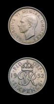 London Coins : A151 : Lot 2942 : Shilling 1930 ESC 1443 GEF, Sixpence 1952 ESC 1838F GEF toned