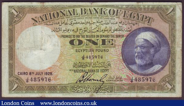 Egypt £1 dated 8th July 1928 series J/8 485976, Pick20a, small repairs, cleaned & pressed, about Fine and scarce : World Banknotes : Auction 151 : Lot 300