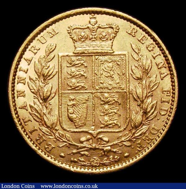 Sovereign 1863 with the die number 827 on the truncation Marsh 46A Rarity 6, Spink 3852F no die number variety VF the reverse better, we note the Bentley example realised £18,600, and our previous example in Auction A150 in GVF realised £14040 inclusive of buyers premium, extremely rare and only the second we have offered, and a rare opportunity for all serious Sovereign collectors to obtain this key date variety  : English Coins : Auction 151 : Lot 3091